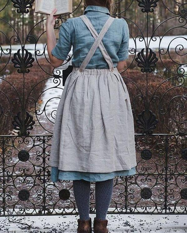 Vintage Cottage Home Garden Double Pockets Apron Dress