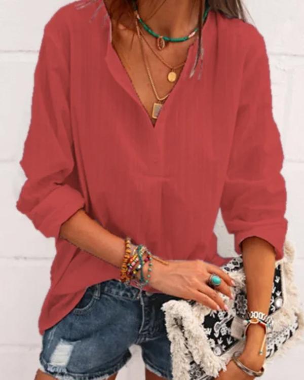 Casual Women Long Sleeve Linen Blouses