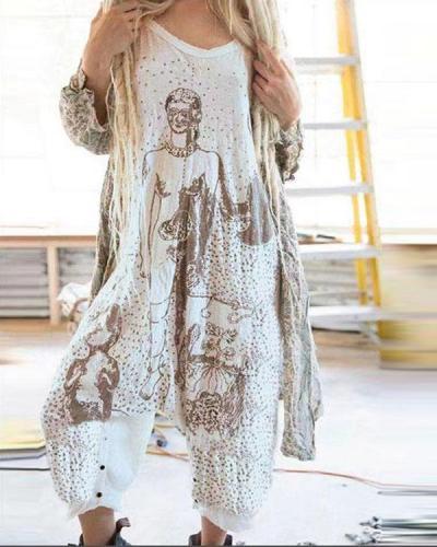Women Vintage Print Sleeveless Jumpsuit