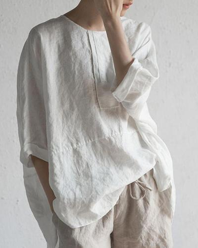 Women O-Neck Half Sleeve Solid Loose Plus Size Casual Linen Tops