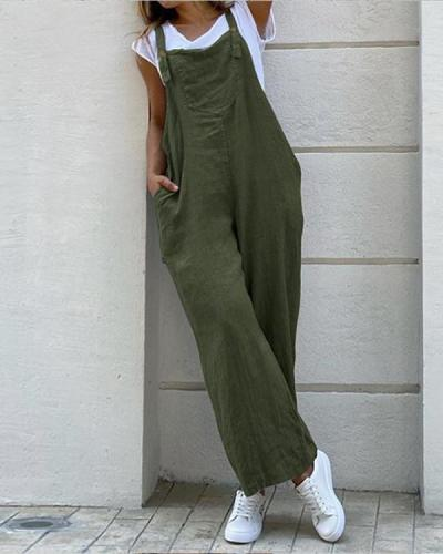 Womens Cotton Linen Casual Loose Jumpsuit Dungarees Playsuit Overalls