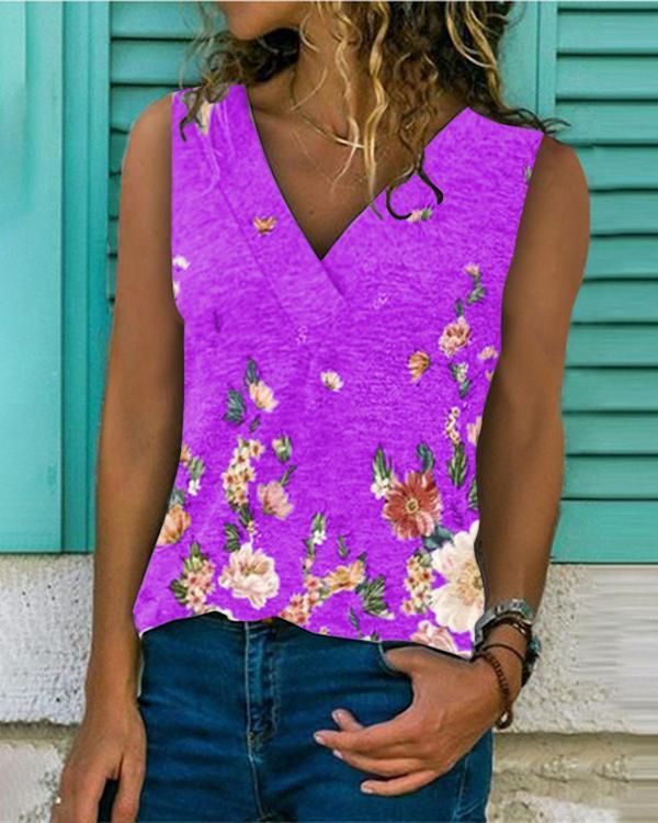 Women V-Neck Sleeveless Print Casual Tops