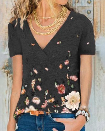 Women Crew-Neck Short Sleeve Floral Print Blouses