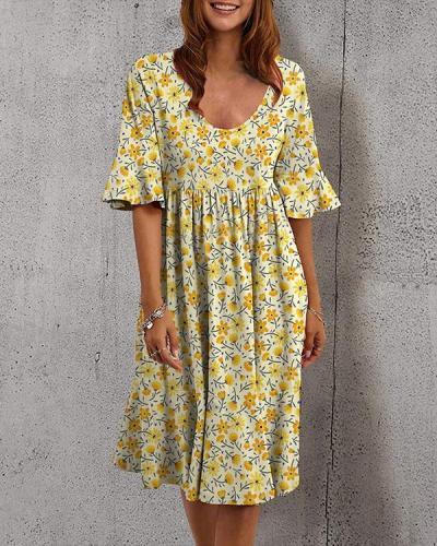 Holiday U Neck Highwaist Flower Print Midi Dress