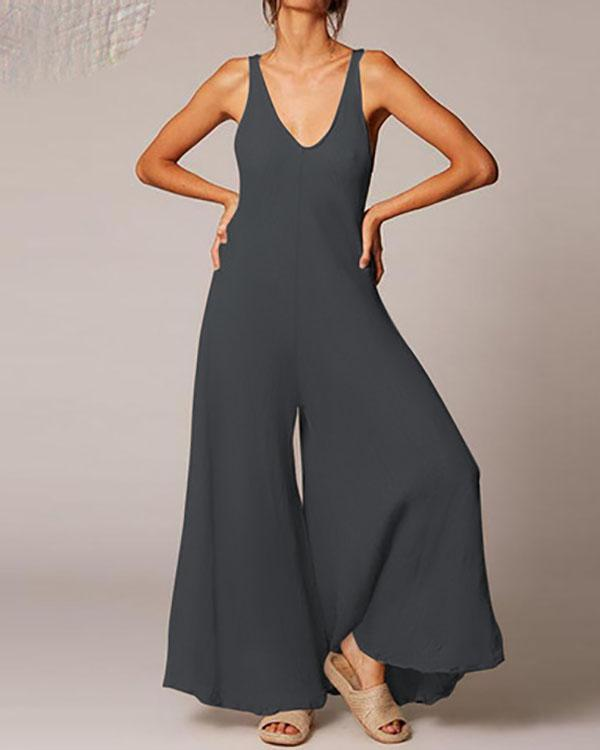 Womens Cotton Casual Loose Jumpsuit Fashion Overalls