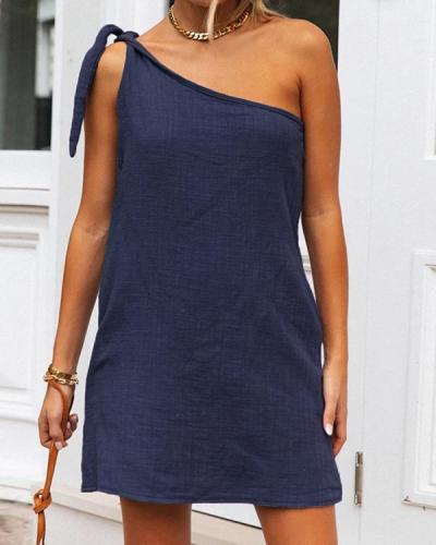 Solid Color One Shoulder Mini Dress