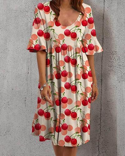 Casual Holiday U Neck Highwaist Floral Ruffle A-line Dress