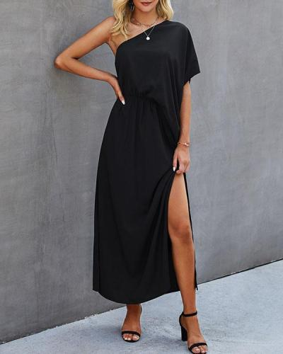 Women One Shoulder Slit Maxi Dresses