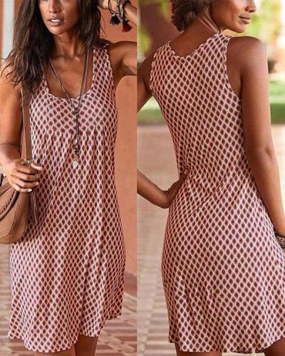 Print Beachside Sleeveless Mini Dress