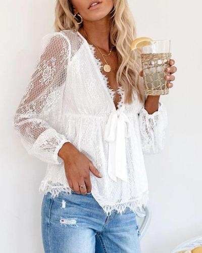 Lace V Neck Ruffle Long Sleeve Floral Blouse