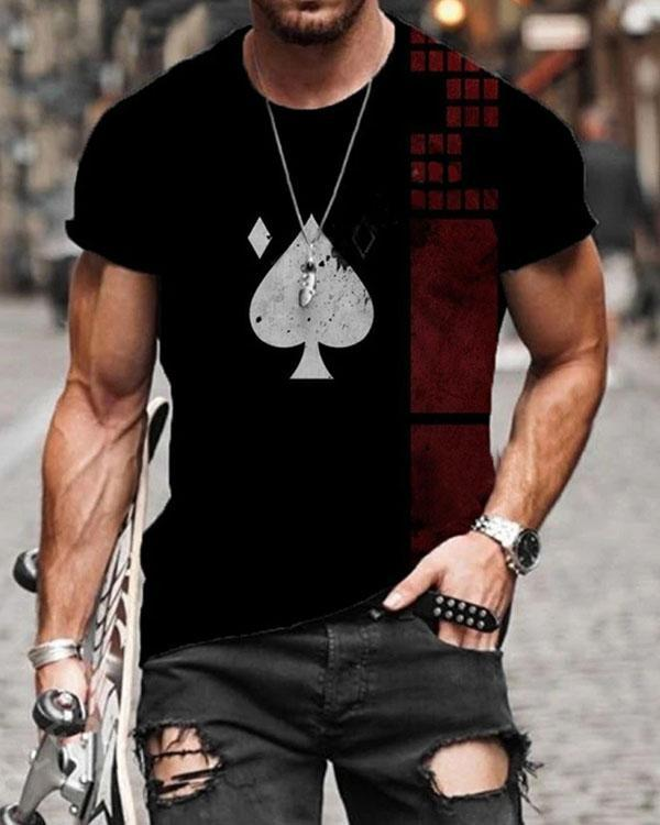 Mens Fashion Poker/Geometry/Bone Print Short Sleeve T-shirt