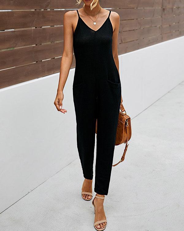 Womens Cotton Casual Spaghetti Strap Pockets Jumpsuit Overalls