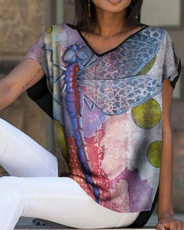 Women Print Casual V-neck Blouses