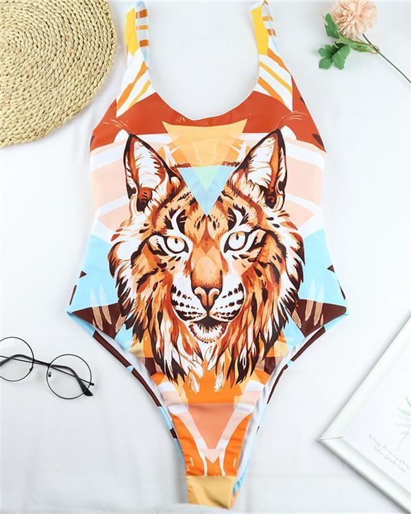 Leopard Printed Backless One Piece Bikini