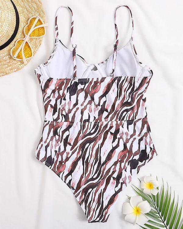 Sexy Spaghetti Strap Leopard One Piece Swimsuit