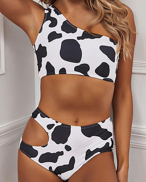 Cow Print Hollow out One Shoulder Bikinis