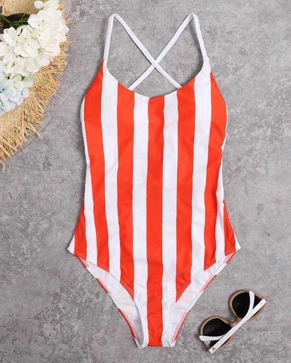 Spaghetti Strap Stripe One Piece Women's Swimsuit