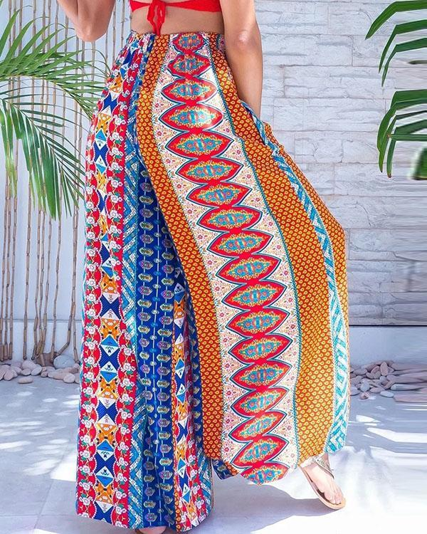 Women's Boho Floral Wide Leg Pants