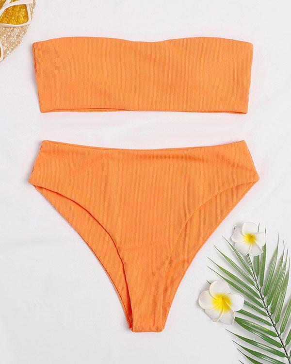 Solid Stretchy Bandeau Bikini Sets