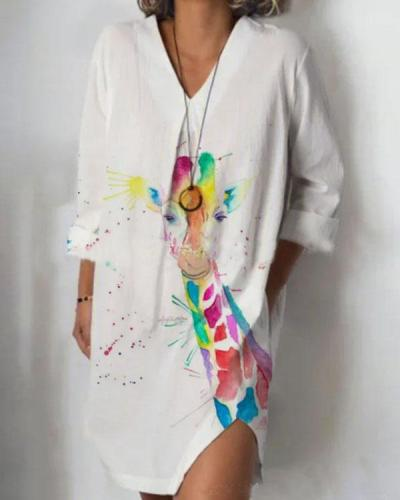 White Long Sleeve Animal Print Dresses