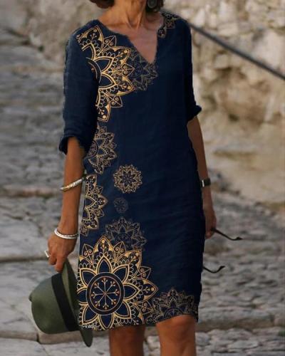Women's Shift Dress Knee Length Dress Half Sleeve Floral Print Dress
