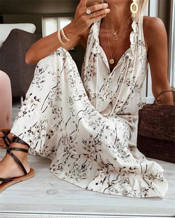 Print Casual V Neck Sleeveless Dresses