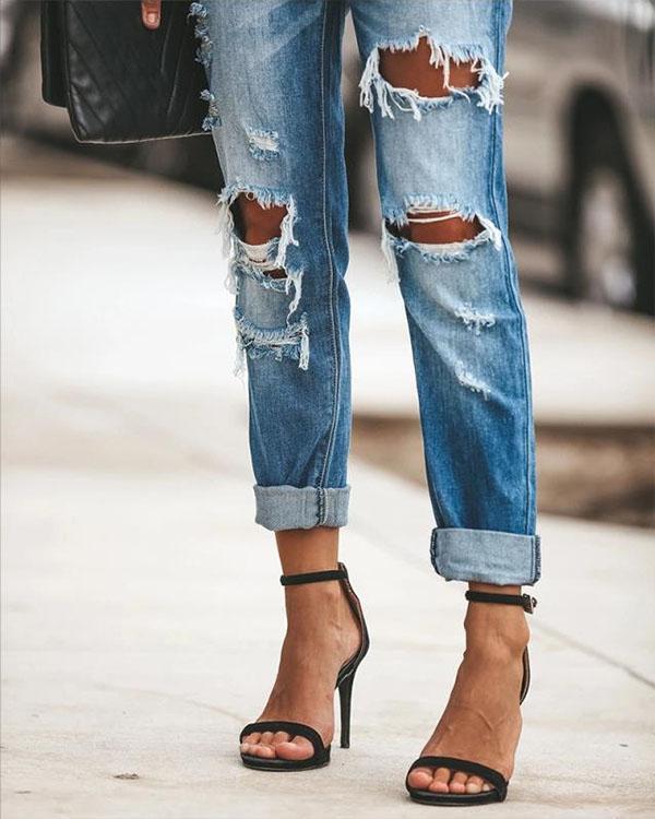 Fashion Mid Waist Ripped Wash Denim Distressed Jeans