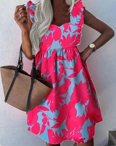 Cute Print Ruffle Mini Dresses