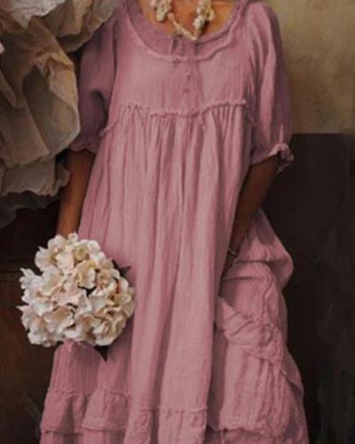 Short Sleeve Cotton Crew Neck Dresses