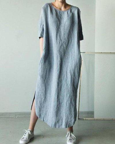 Solid Short Sleeve Straight Slit Linen Dresses