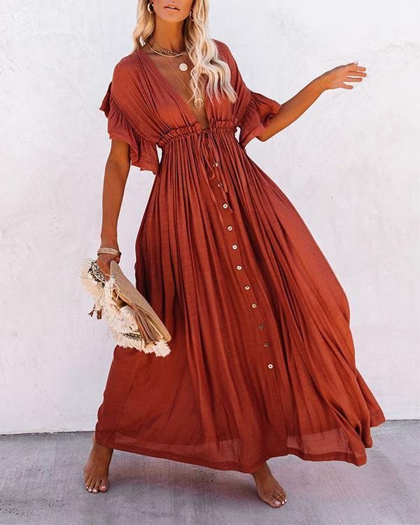 Women Long Maxi Dress Solid V neck Ladies Holiday Dress