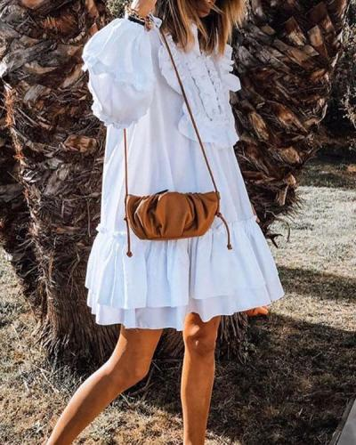 Long Sleeve Ruffle Patchwork Cute Dresses