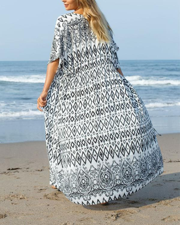 Printed Sleeved Kimono Chiffon Maxi Cover Up