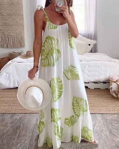 Women's Sexy Lace Up Print Summer Holiday Dress