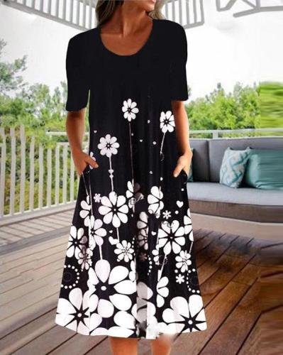 Round Neck Floral Printed Midi Dress With Pockets