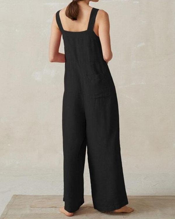 Women's Jumpsuits Wide Leg Pockets Overalls
