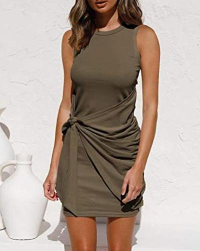Casual Knotted Sleeveless Mini Dress