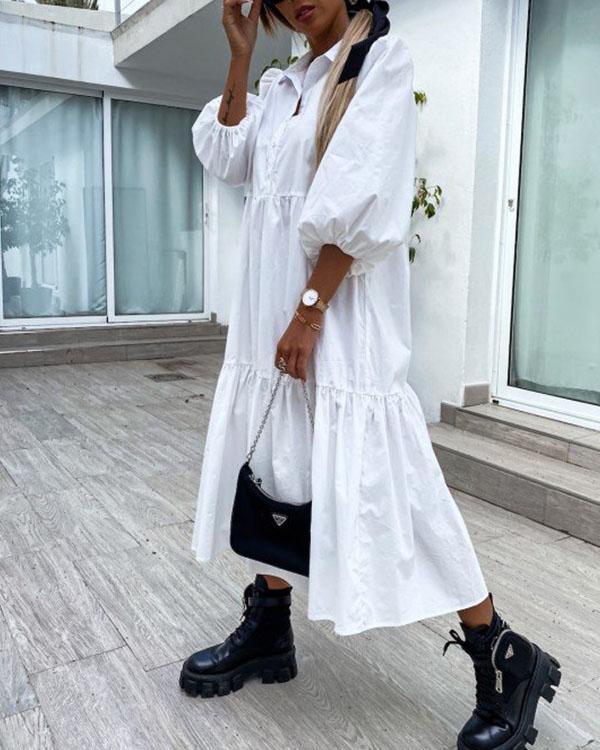 Women Puff Sleeve Solid Cotton Ruffle Hem Dresses