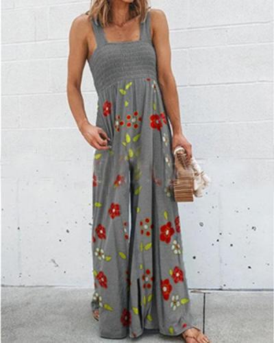 Women's Elastic Bust Wide Leg Floral Jumpsuit