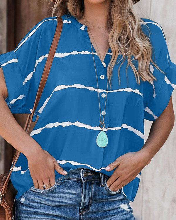 Casual V Neck Stripe Blouse