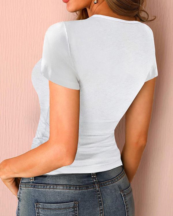 Sexy U-neck Casual Short Sleeve Shirts & Tops