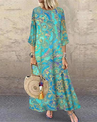 Women's Shift Dress Maxi long Dress 3/4 Length Sleeve Tribal Print Dress