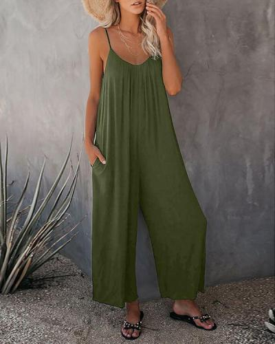 Women's Spaghetti Straps Wide Leg Pocket Jumpsuits