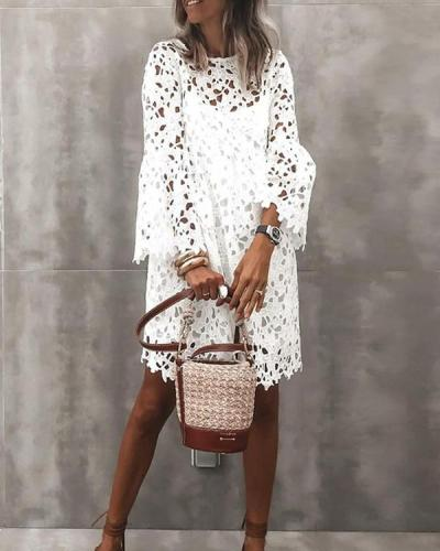 Women's Sheath Dress Long Sleeve Solid Color Lace Hollow Dress