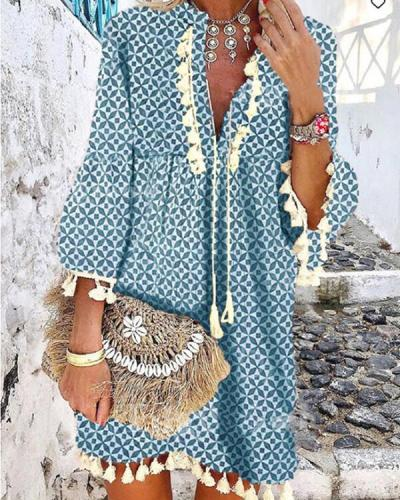 Women Printed Casual Tassel  V Neck Dresses