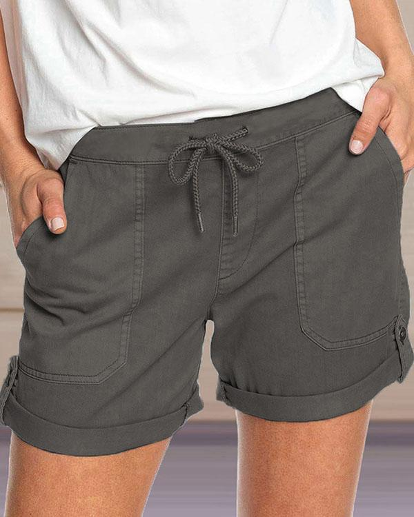 Hot Sale Casual Straight Mid Waist Shorts