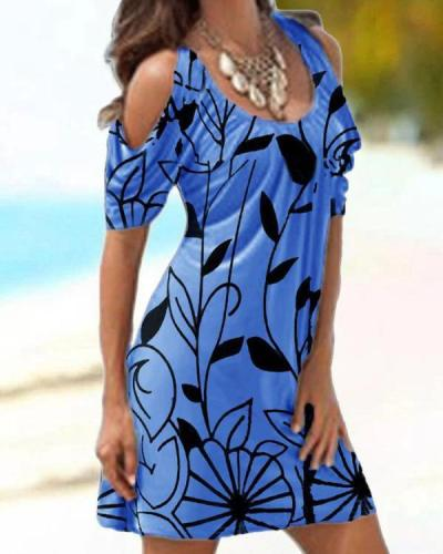 Printed Cold Shoulder Slim Dress