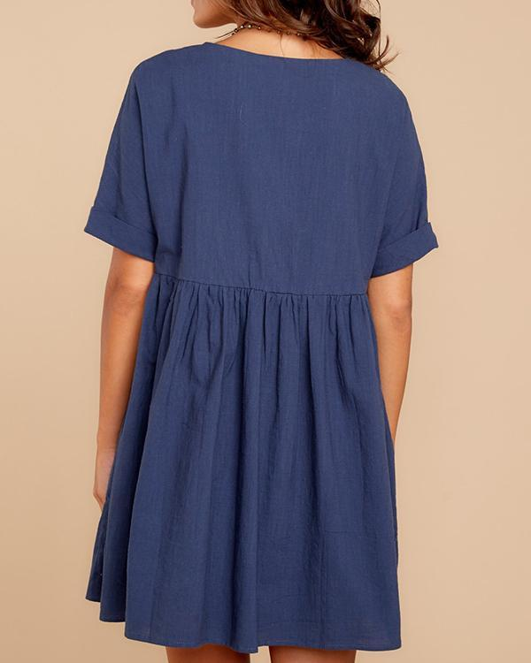 Casual Ruffled Short Sleeve V Neck Dresses