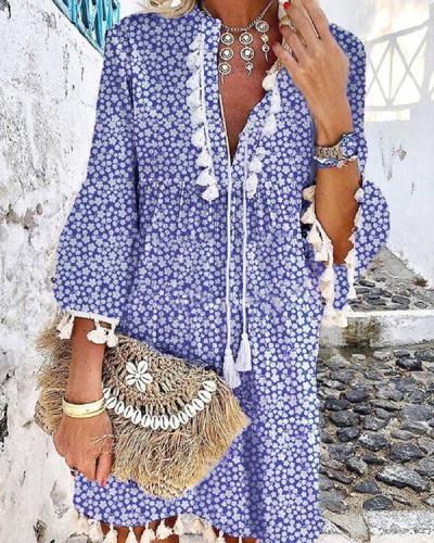 Floral Printed Casual Tassel  V Neck Dresses