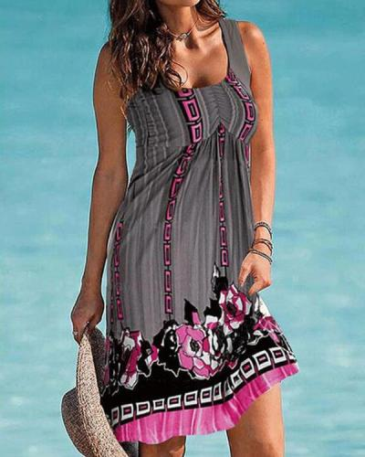 Print Sleeveless Shift Vacation Dresses